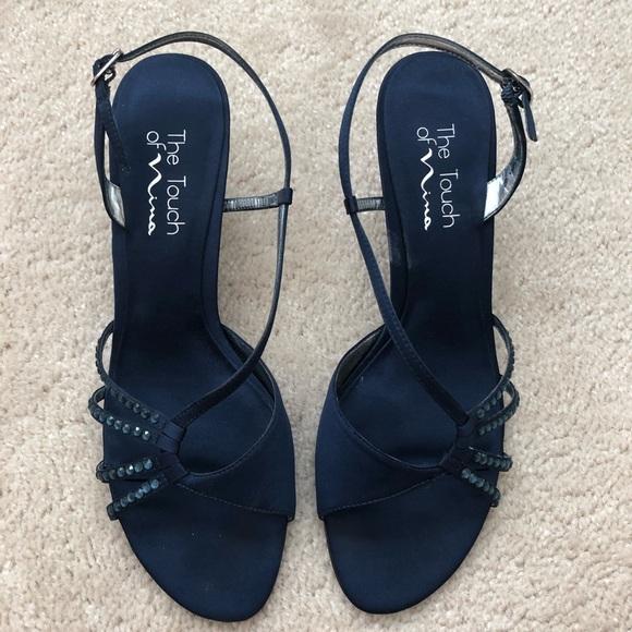 Nina Shoes   Rhinestone Navy Blue